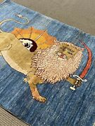 4andrsquo X 5andrsquostunning Lion Oriental Area Rug Gabbeh Hand Made Nomadic Woven Rare A+