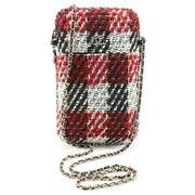 100 Auth - Tweed Ribbon Chain Phone / Crossbody Bag