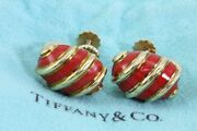 Rare And Co Schlumberger Red Coral Enamel Shell 18k Yellow Gold Earrings