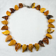 Natural Amber Carved Leaves Necklace Russian Baltic Egg Yolk Butterscotch Silver