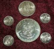 6 Vintage Philippines 800 /900 Silver Coins Ww Ii Era And Commerative Peso Bu