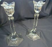 Vintage Orrefors Pair Of Art Glass Crystal Candlesticks With Lotus Flower Top