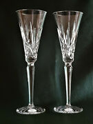 Two Ajka Lismore Clear Champagne Flute Glasses, New, Signed, Waterford Design