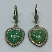 Sterling Silver Green Heart Victorian Seashell Vintage Style .925 - 4.4 Grams