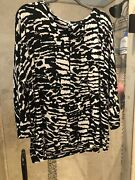 Chicos Travelers Size 3 Top Pullover Tunic Black White Tribal Animal Xl Nwt