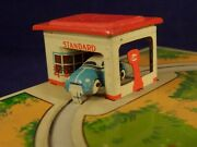 Vintage Tin Toys Wind-up Circuit Car Beetle Petrol Station Georg Fischer Germany