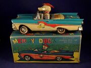 Vintage Rare Tin Toys Car Ford Fairlane Convertible Merry Duck Alps 50and039s Boxed
