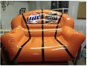 Miller Lite Genuine Draft Inflatable Couch Pool Float W/ Beverage Holder In Arms