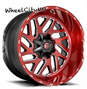 22 X10 Candy Red Milled Fuel D691 Triton Wheels Fits Jeep Wrangler 5x127 5x5 4x