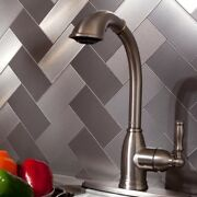 Peel And Stick Tile Silver Stainless Adhesive Metal Wall Kitchen Backsplash 15sf