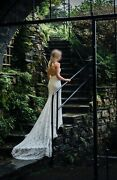 Beautiful Pronovias Maple Lace Wedding Dress With Train Size 8 Rrp Andpound1850