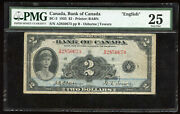 1935 Bank Of Canada 2 English Issue - Bc-3 - Pmg Vf25 - S/n A2850673/b