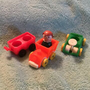 Vintage Fisher Price Little People Riding Toys 3 Pc Lot Go Cart Trainandnbspgirl