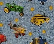Vintage Toy Tractor Airplane Pedal Cars 100 Cotton Fabric By The Yard Free Ship