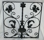 Vintage Victorian Style Wrought Iron Metal Wall Mounted Candle Holder Scrolls