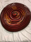 38x33w Signed Hand Blown Glass Wall Plate / Red Black Yellow