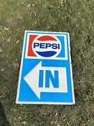 Vintage Original 1970s Pepsi Embossed All Metal In And Out Signs Nice Rare