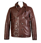 Auth Louis Vuitton Sz 40 Calf Leather Double Breasted Jacket Removable Liner