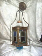 Antique Hanging Oil Lamp Converted To Electric With 4 Stained Glass Panels