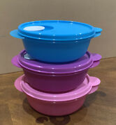 Tupperware New Small Microwave Crystalwave 2andfrac12-cups/600 Ml Each-round Set Of 3