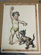 Signed Watercolor Painting By Preston Blair Of Young Boy And Scotty Dog