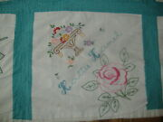 Vtg Hand Embroidered Block Flower Quilt Blanket Personalized Name Squares 1927