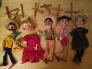 Marionette String Puppet Lot Mexican Paper Mache Large Lot For Repair