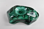 Polished Malachite Ashtray Bowl Sphere Stand From Congo 15.1 Cm 11706