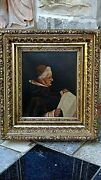 Antique1896c French Oil On Canvas Painting Of Bishop Reading Alord News