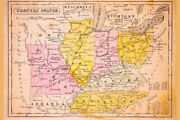 344409 Western States Of United States Antique Map Glossy Poster Us