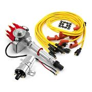 Chevy Sbc 350 Bbc 454 Distributor Vacuum Red + Chrome Coil + Accel Wire Leads