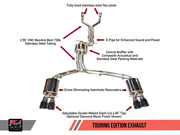 Awe Tuning Touring Edition Exhaust - Diamond Black Tips For Audi C7 / C7.5 S7 4.