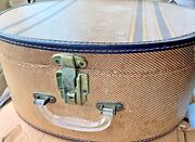 Oval Round Vintage Antique Cardboard Train Suitcase Hat 🎩 Box W/ Lock And Hasps