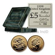 Great Britain 1998 5 Sovereign Gold Coin Bu With Box And Coa Sku7447