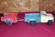 Old Diecast Hubley 800 2 Truck And Trailer Vintage Metal Toy Vehicle 1/18 Scale