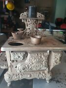 Vintage Eagle Children's Toy Wood Stove With Accessories