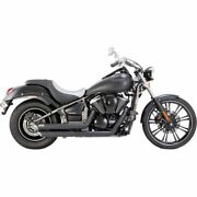 Vance And Hines Twin Slash Staggereds Black Exhaust System Kawasaki Vn900 06-15