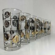 Vintage Mcm Libbey Old Black And Gold Coin Grid Set Of 7 Drinking Glass Tumbler