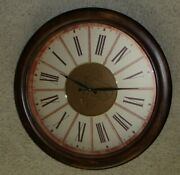 Rare Three Hands Corp Large Wall Clock 28 Inches Vintage Style 59194