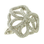 Natural Diamond Micro Pave Floral Design Ring 18k White Gold Womenand039s Jewelry