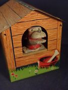 Vintage Rare Tin Toy Money Bank Doghouse With Zipper And Trapdoor 40's