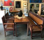 Antique Harvest Farm House Dining Table, Bench And Chairs