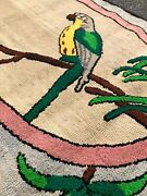 Antique Vintage Parrot Hooked Rug  5andrsquo X 2andrsquo 9andrdquo