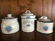 Vintage Country Kitchen Ceramic Canisters Set Of 3 For Flour, Sugar, Popcorn