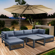 Outdoor Sofa Set With Gray Cushions Aluminum Sectional Furniture Couch Patio