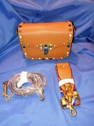 Spiked Studded Purse Cross-body Shoulder Bag Leather Purse Brown