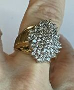 14k Yellow Gold And 2.25ct Diamond Cluster Ring Vintage Style Original Yellow Gold