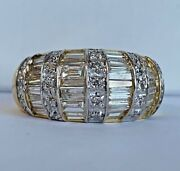 14k Yellow Gold And 1.25 Ct Diamond Rounded Unique Antique Style Band