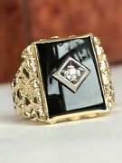Vintage Style 14k Yellow Gold, Diamond And Onyx Nugget Ring Men's Fine Jewelry