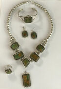 Vintage Navajo 92.5 Sterling Silver And Green Turquoise 5 Piece Set Matching Lot